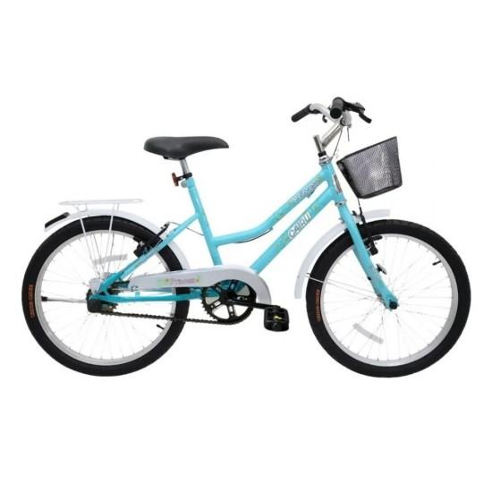 Bicicleta Infantil Cairu Princess 20 com Cesto Azul e Branco