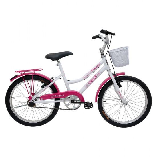 Bicicleta Aro 20 Cairu Princess, Branca/Rosa